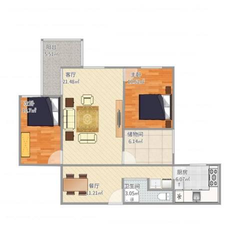 安华西里2室2厅1卫1厨100.00㎡户型图