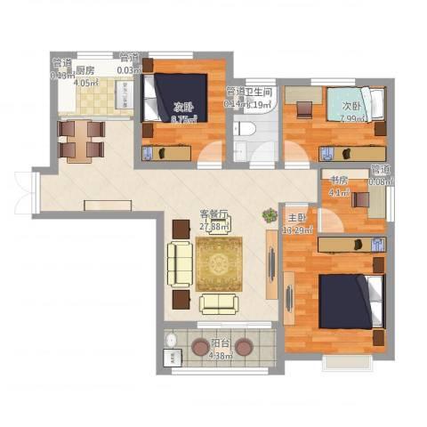 中环城紫荆公馆4室2厅1卫1厨107.00㎡户型图