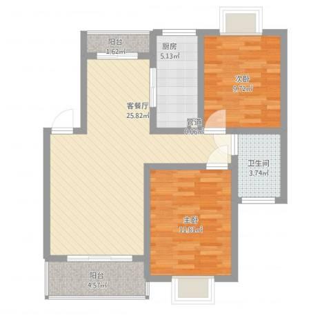 阳光迪金阁2室2厅1卫1厨91.00㎡户型图