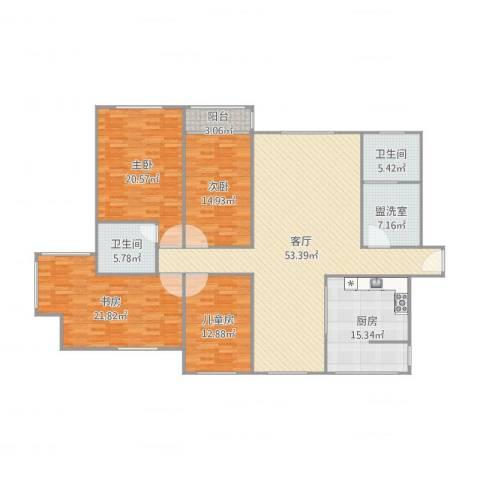 公务员小区4室3厅2卫1厨214.00㎡户型图