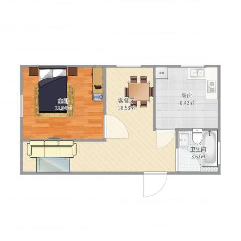 宜川二村一房1室2厅1卫1厨59.00㎡户型图