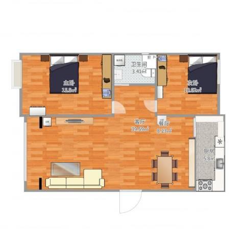 金色福园2室1厅1卫1厨100.00㎡户型图