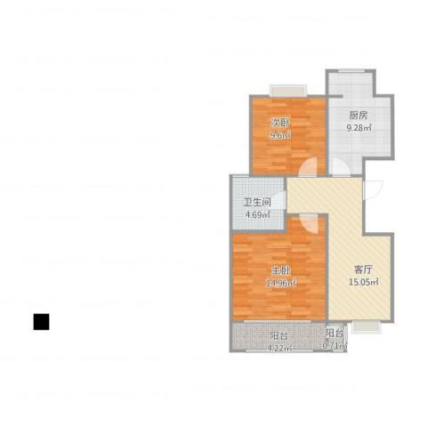 先春园泉春里2室1厅1卫1厨80.00㎡户型图