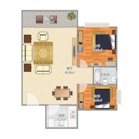 丽日华庭2室1厅1卫1厨125.00㎡户型图