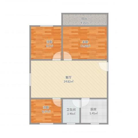 佳旺花园3室1厅1卫1厨89.00㎡户型图