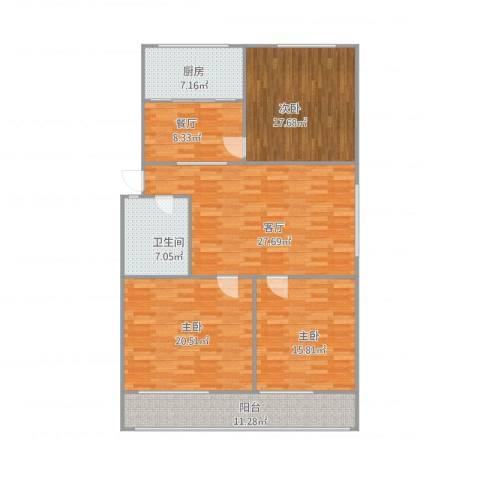 紫薇田园都市3室2厅1卫1厨154.00㎡户型图