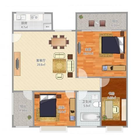 康怡花园3室2厅1卫1厨118.00㎡户型图