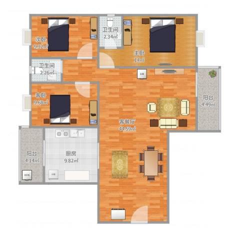 东岸春天3室2厅2卫1厨135.00㎡户型图