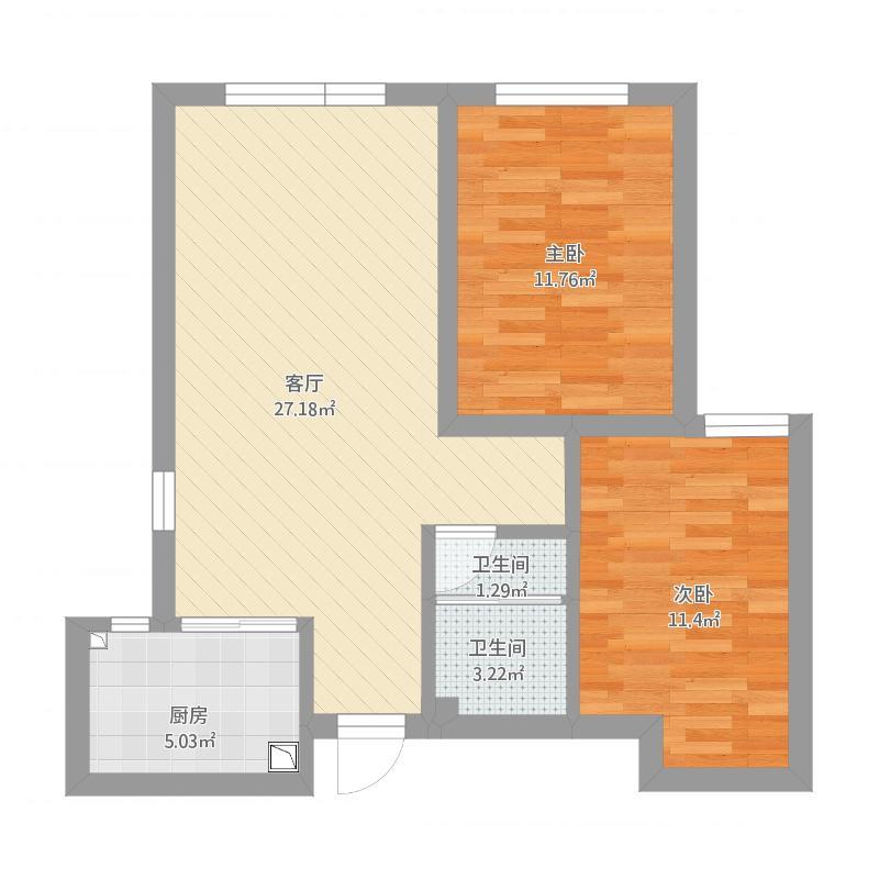 香郡原筑84方两室两厅