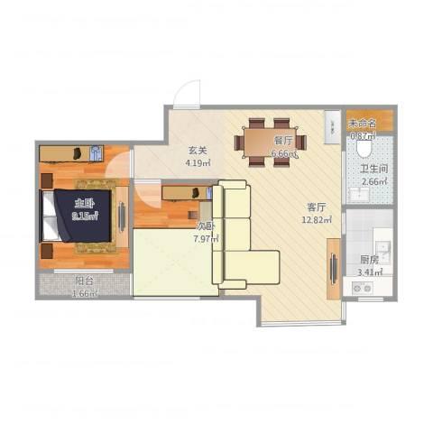 丽都新城二期爱丽香舍2室1厅1卫1厨67.00㎡户型图