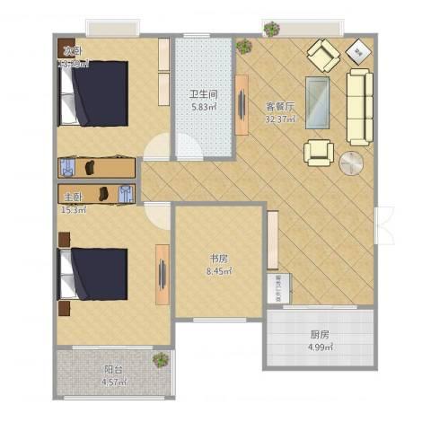 禹香苑3室2厅1卫1厨114.00㎡户型图