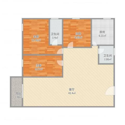 玫瑰名园3室1厅2卫1厨119.00㎡户型图