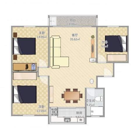海湾新城3室1厅1卫1厨115.00㎡户型图