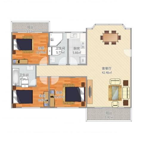 国贸新城3室2厅2卫1厨134.00㎡户型图