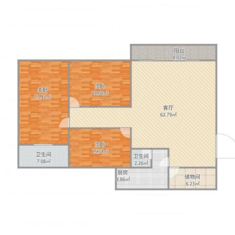 恒业豪庭3室1厅2卫1厨206.00㎡户型图