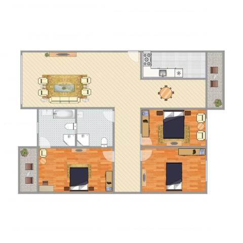 龙福花园3室1厅2卫1厨161.00㎡户型图