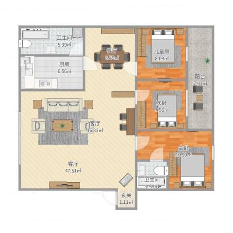 桔园成功苑3室1厅2卫1厨103.49㎡户型图