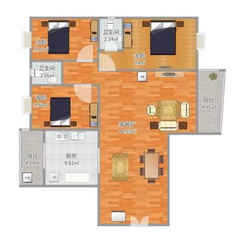 东岸春天3室2厅2卫1厨122.00㎡户型图