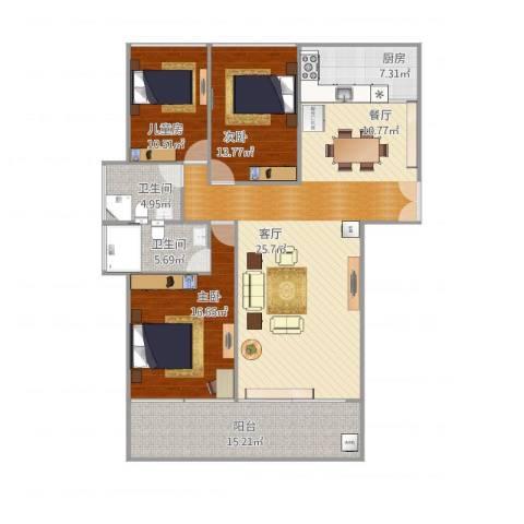 金地梅陇镇二期3室1厅2卫1厨162.00㎡户型图