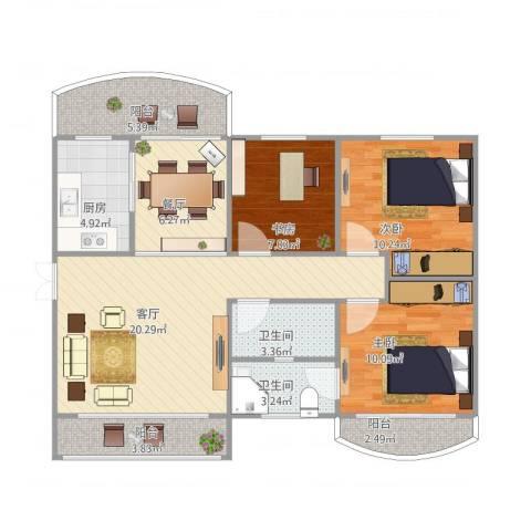 龙福花园3室2厅2卫1厨106.00㎡户型图