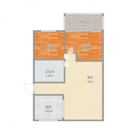 马台街2室1厅1卫1厨59.00㎡户型图