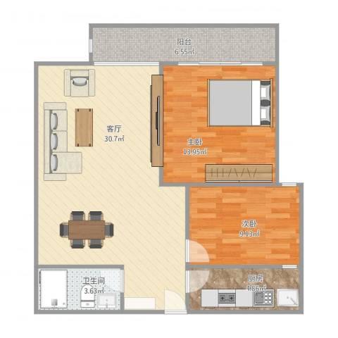 禹洲海湾新城2室1厅1卫1厨92.00㎡户型图