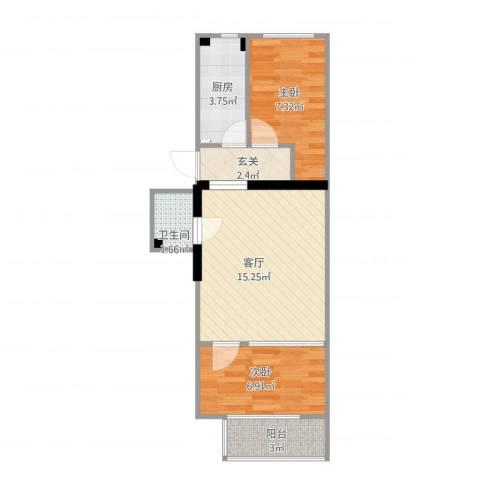 农光南路2室1厅1卫1厨57.00㎡户型图