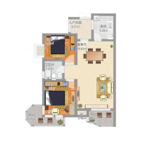 中铁人才家园2室2厅1卫1厨105.00㎡户型图