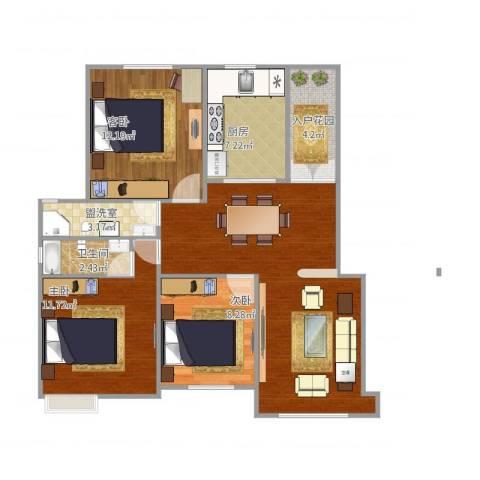 翡翠明珠3室2厅1卫1厨100.00㎡户型图