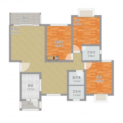 东兰兴城玉兰苑2室2厅2卫1厨150.00㎡户型图