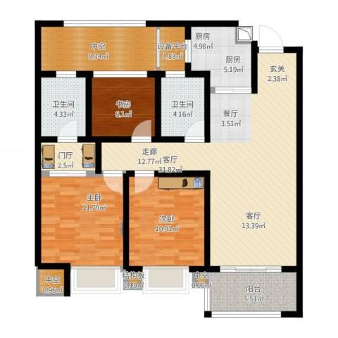 龙湖时代天街3室1厅7卫1厨138.00㎡户型图