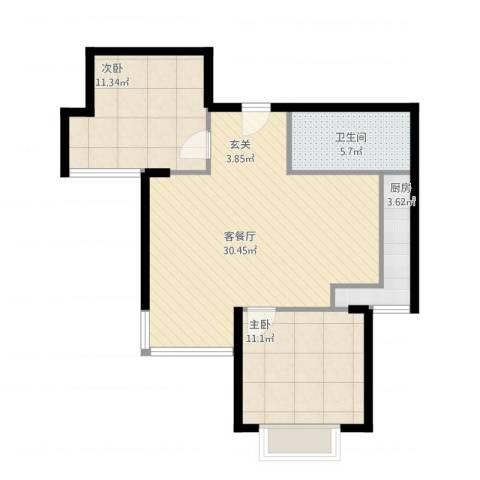 富饶世家2室2厅1卫1厨87.00㎡户型图
