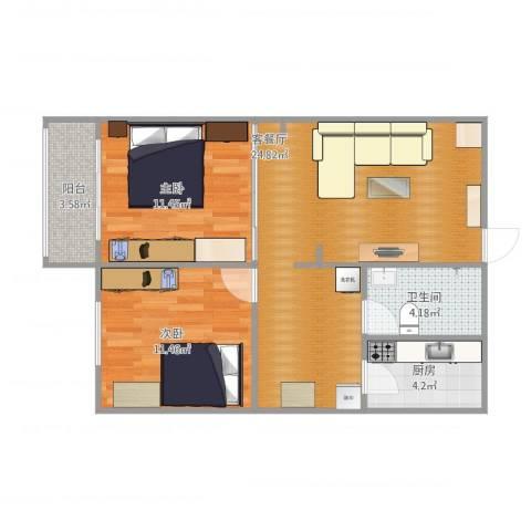 积善里2室2厅1卫1厨81.00㎡户型图