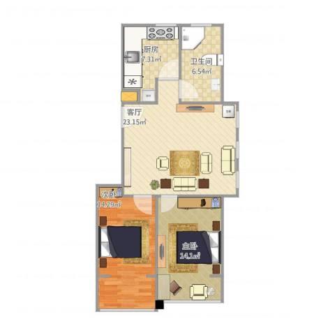 中德亚运村北区2室1厅1卫1厨88.00㎡户型图