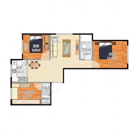 家豪圣托里尼2室2厅2卫1厨87.00㎡户型图