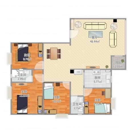 幸福花园E74室1厅2卫1厨140.00㎡户型图