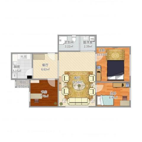 甘家口小区16#3室4厅1卫1厨92.00㎡户型图