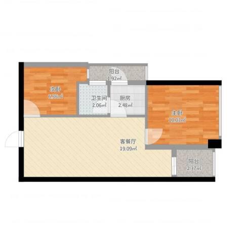 警备区龙华公寓2室2厅1卫1厨64.00㎡户型图