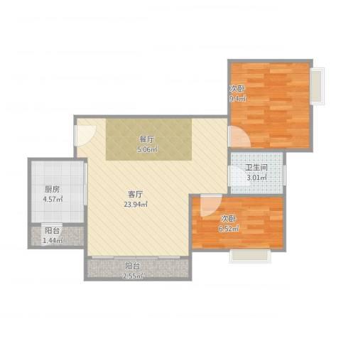 康格斯花园2室1厅1卫1厨70.00㎡户型图