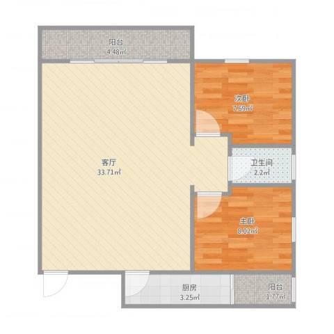 瑞丽花园荟雅居L座7042室1厅1卫1厨83.00㎡户型图