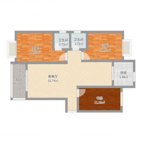 伴山尊品3室2厅2卫1厨125.00㎡户型图