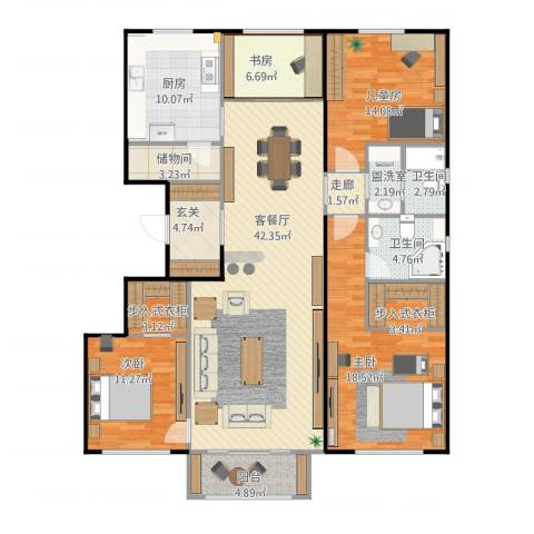 国仕汇4室4厅2卫1厨178.00㎡户型图