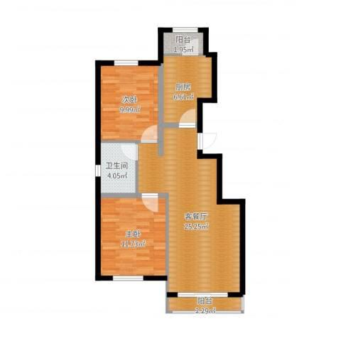 孔雀海2室2厅1卫1厨89.00㎡户型图