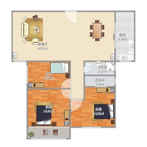 新家坡园景苑3室2厅2卫1厨144.00㎡户型图