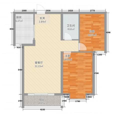 明泽百度城2室2厅1卫1厨102.00㎡户型图