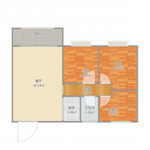 盈翠华苑3室1厅1卫1厨114.00㎡户型图