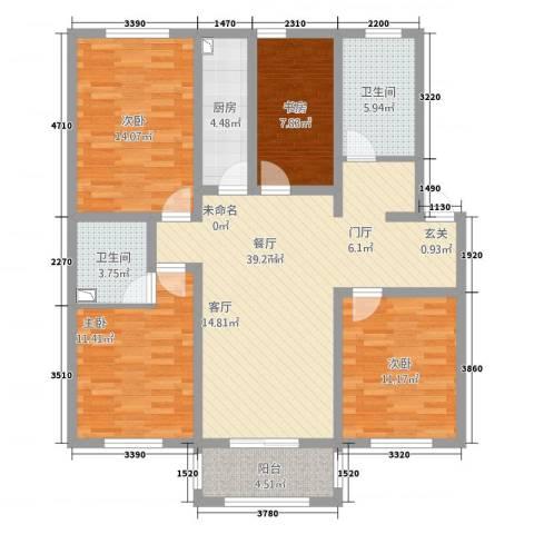 中鹤国际4室1厅2卫1厨138.00㎡户型图
