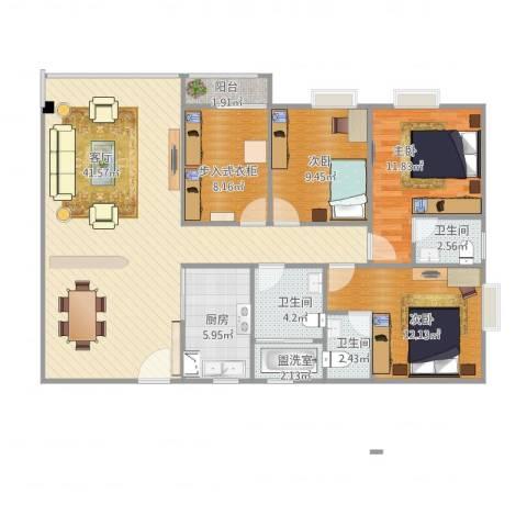 幸福花园2期C3室3厅3卫1厨139.00㎡户型图