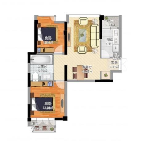 世纪东方商业广场2室2厅1卫1厨88.00㎡户型图