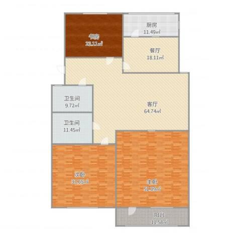 舜耕路单位宿舍3室2厅2卫1厨312.00㎡户型图